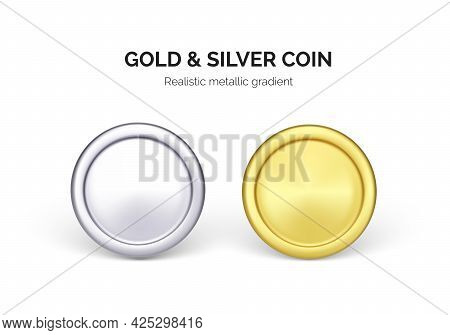One Silver And Gold Dollar Coin. Business And Finance Illustration. Vector