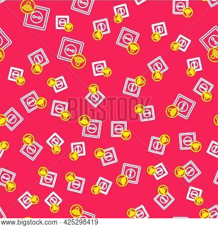 Line Smart Electrical Outlet System Icon Isolated Seamless Pattern On Red Background. Power Socket.