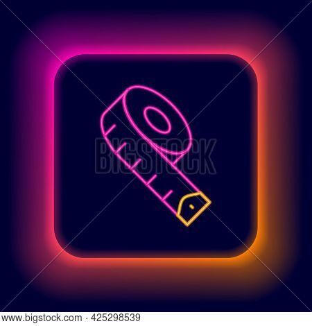 Glowing Neon Line Measuring Tape Icon Isolated On Black Background. Tape Measure. Colorful Outline C
