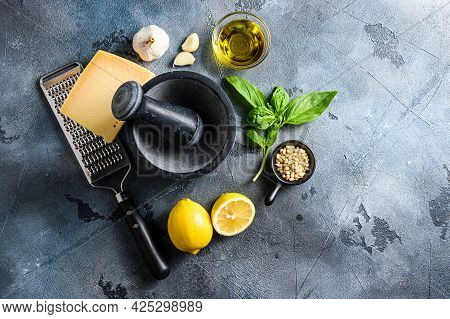 Ingredients For Pesto Genovese Sauce Parmesan Cheese, Basil Leaves, Pine Nuts, Olive Oil, Garlic And
