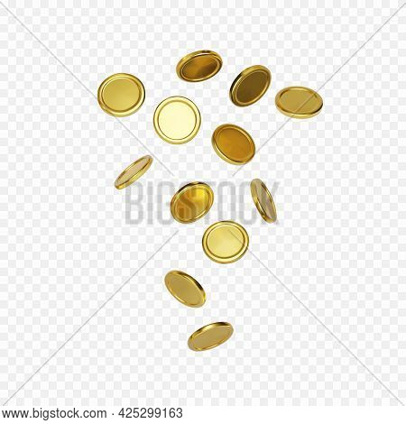Explosion Of Realistic Gold Coin On Transparent Background.cash Treasure Concept. Jackpot Or Casino