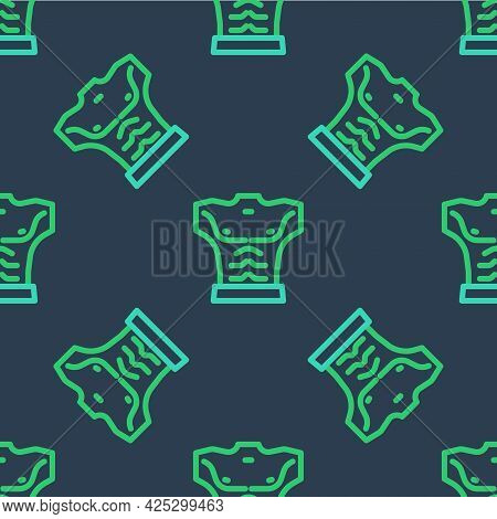 Line Bodybuilder Showing His Muscles Icon Isolated Seamless Pattern On Blue Background. Fit Fitness