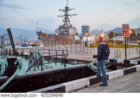 Batumi, Georgia - October 23, 2019: A Nato Warship In Port Of Batumi City In Georgia In Day Or Eveni