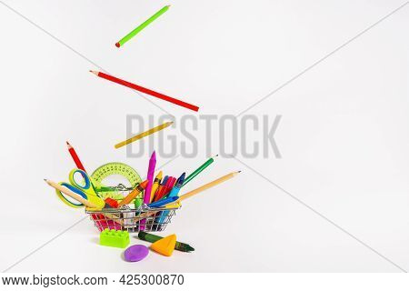 School Supplies And Office Supplies On A White Background. Isolated. Levitation.