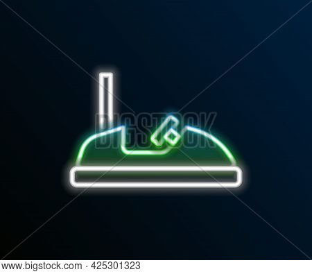 Glowing Neon Line Bumper Car Icon Isolated On Black Background. Amusement Park. Childrens Entertainm