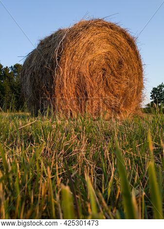 Rural Landscape With One Roll Bale In Field During Dusk, Straw Haystack As Cattle Fodder