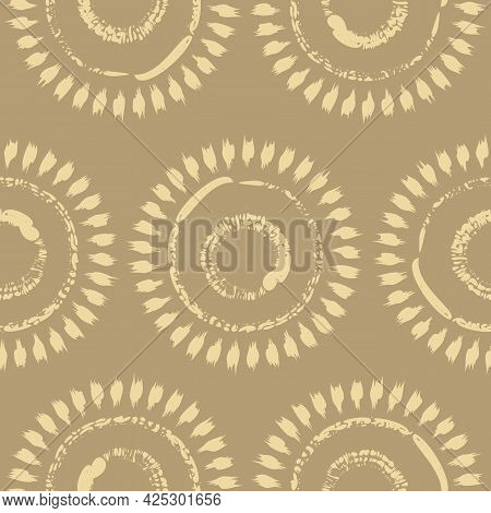 Vector Drawn Yellow Suns Ocher Seamless Pattern