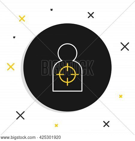 Line Human Target Sport For Shooting Icon Isolated On White Background. Clean Target With Numbers Fo