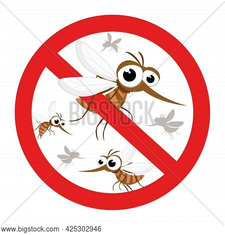 Mosquitoes Behind A Red Stop Sign On A White Background. Isolated