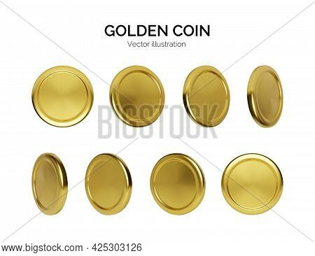 Golden Coin Rotation. Finance And Money. Realistic Render Gold Money. Glossy Metallic Coin. Vector I