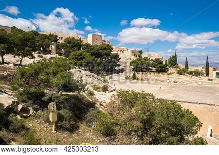 Santa Barbara Castle Is A Fortification In The Center Of Alicante, Spain