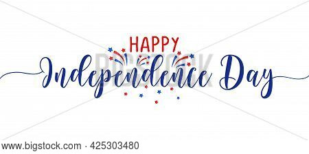 Happy Independence Day 4th Of July - Happy July 4th Lettering Design Illustration. Good For Advertis
