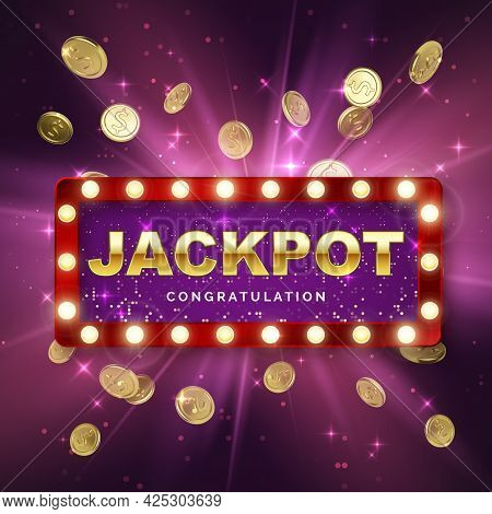 Jackpot Casino Winner On Purple Background With Light Rays. Big Win Banner. Retro Signboard With Fal