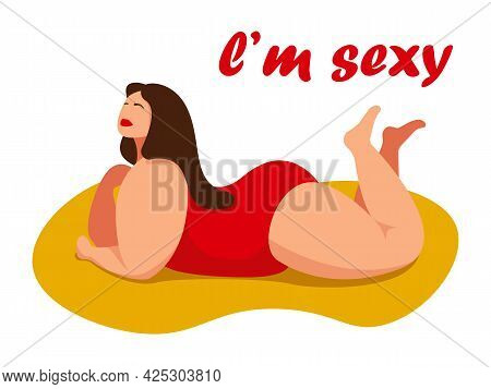 Attractive Overweight Woman Lies On Her Stomach. Female Cartoon Flat Style Character. Love Your Body