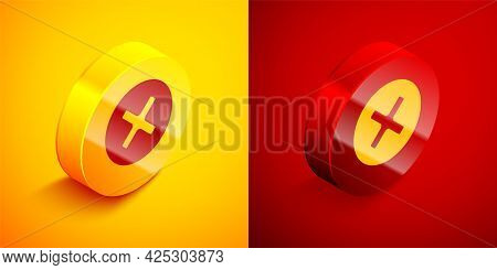 Isometric X Mark, Cross In Circle Icon Isolated On Orange And Red Background. Check Cross Mark Icon.