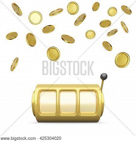 Golden Slot Machine Realistic Render. Big Win On Jackpot Casino Win. Slot Machine Wheels And Coins R