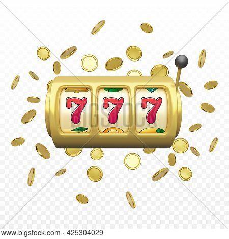 Golden Slot Machine Realistic Render. Big Win On Jackpot Casino Win. 777 On Slot Machine Wheels And