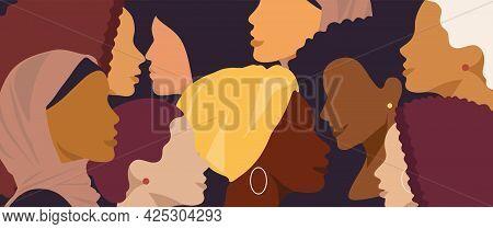 Female Diverse Faces Of Different Ethnicity Banner. Women Empowerment Movement Pattern. Internationa
