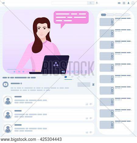 Vector Design Of Video Tutorial, Online Video Playback, Communicator In Online Course, Video Website