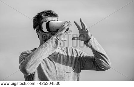 Vr Communication. Exciting Impressions. Gaming And Entertainment. Interaction With Digital Surface.