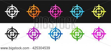 Set Target Sport Icon Isolated On Black And White Background. Clean Target With Numbers For Shooting