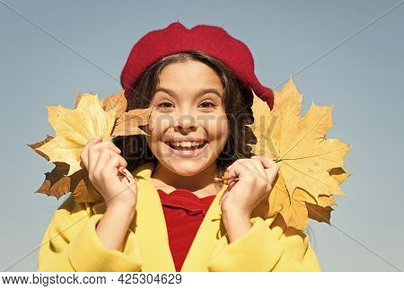 Totally Happy. Happy Retro Girl. Girl Gather Yellow Maple Leaves. Parisian Kid Wear French Beret. Fa