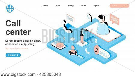 Call Center Isometric Concept. Operator Answers Customer Calls, Technical Support Hotline, Online Co
