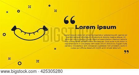 Black Sausage Icon Isolated On Yellow Background. Grilled Sausage And Aroma Sign. Vector