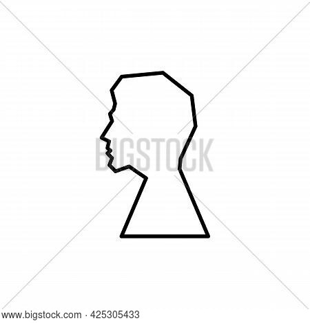 Silhouette Men In Profile Icon. Sketch Of Male Face Or Human Head. Trendy Flat Isolated Symbol Sign