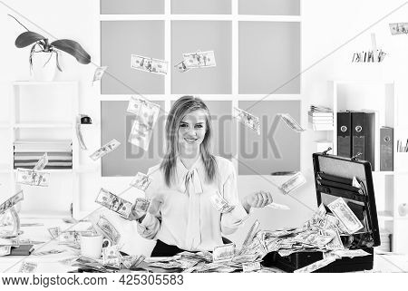 Finances Is My Passion. Girl With Briefcase Full Of Cash. Financial Achievement. Business Challenge.