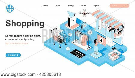 Shopping Isometric Concept. Woman Buys Clothes In Store Sale. Customer Makes Purchases In Online App