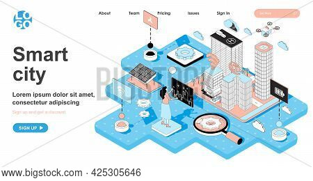 Smart City Isometric Concept. Future Cityscape, Skyscrapers And Infrastructure, Management With Wire