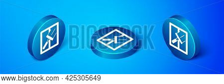 Isometric Cleaning Service With Of Rubber Cleaner For Windows Icon Isolated On Blue Background. Sque