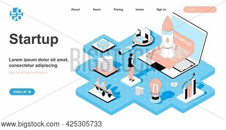 Startup Isometric Concept. Man Starts New Business, Online Project, Development Of Idea And Innovati