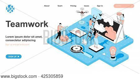 Teamwork Isometric Concept. Colleagues Work Together, Collaboration And Connection, Team Building An