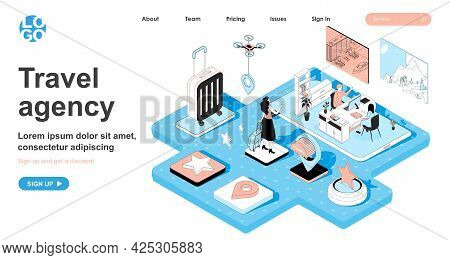 Travel Agency Isometric Concept. Operator Assists Client In Choosing Tour, Booking And Purchasing Ti