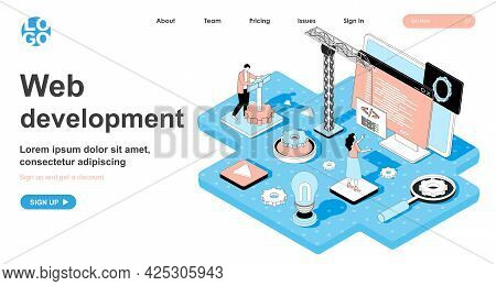 Web Development Isometric Concept. Developers Building Website, Writing Code, Testing, Customize And