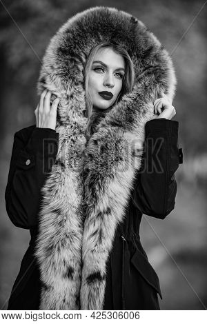 Fake Fur Fabric. Elegant Girl Walk In Autumn Park. Fur Garments. Really Warm And Cozy. Expensive Clo