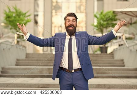 Dressed For Success. Successful Man Celebrate Victory Outdoors. Celebrating Professional Success. To