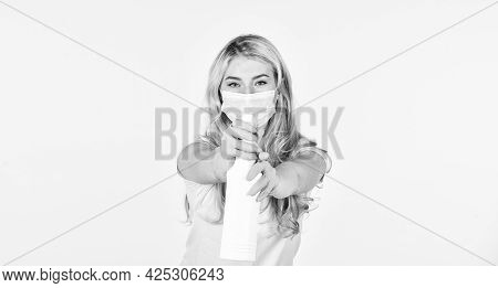 Disinfector Or Antiseptic. Care Your Health. Woman In Respirator Mask Use Hand Sanitizer. Girl In Ru