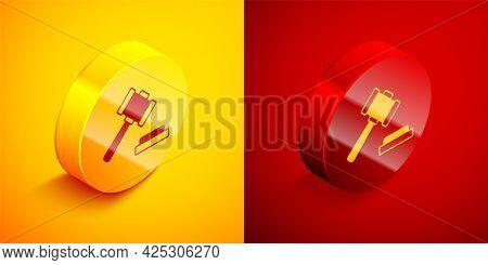 Isometric Judge Gavel Icon Isolated On Orange And Red Background. Gavel For Adjudication Of Sentence