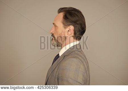 Man Handsome Mature Bearded Face Wearing Suit, Formal Fashion Concept