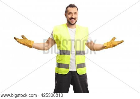 Waste collector smiling and gesturing with hands isolated on white background