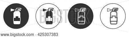 Black Fire Extinguisher Icon Isolated On White Background. Circle Button. Vector