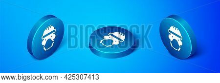 Isometric Nuclear Power Plant Worker Wearing Protective Clothing Icon Isolated On Blue Background. N