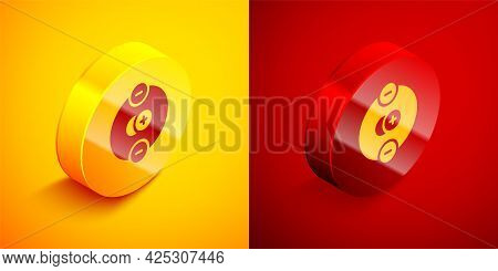 Isometric Atom Icon Isolated On Orange And Red Background. Symbol Of Science, Education, Nuclear Phy