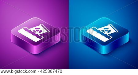 Isometric Radioactive Waste In Barrel Icon Isolated On Blue And Purple Background. Toxic Waste Conta