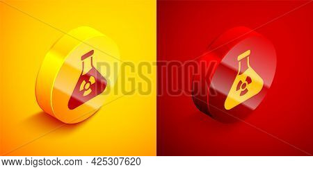 Isometric Laboratory Chemical Beaker With Toxic Liquid Icon Isolated On Orange And Red Background. B