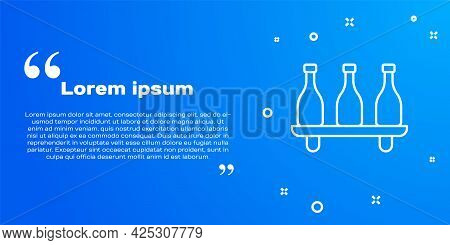 White Line Bottle Of Wine Icon Isolated On Blue Background. Wine Varieties. Vector