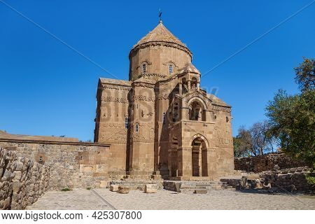 Main Facade Of Medieval Armenian Cathedral Of Holy Cross & Empty Square In Front Of It, Akdamar Isla